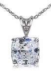 1 Carat Cushion Cut Cubic Zirconia Classic Solitaire Basket Set Pendant