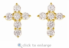 Mini Cross Round Diamond Look Cubic Zirconia Stud Earrings
