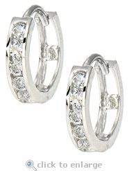 Channel Set Round Cubic Zirconia Mini Huggie Hoop Earrings