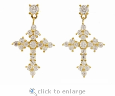Armen Orthodox Cross Diamond Look Cubic Zirconia Drop Earrings