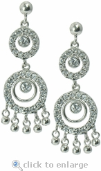 Punjab Bezel Set Round Pave Cubic Zirconia Halo Chandelier Drop Earrings