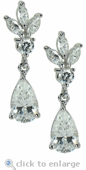 Fairchild 1.5 Carat Each Pear Marquise Round Cubic Zirconia Drop Earring