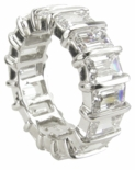 Bar Set .75 Carat Each Emerald Cut Cubic Zirconia Eternity Band