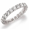 18K White Gold Medium Round Shared Prong Set Cubic Zirconia Eternity Wedding Band