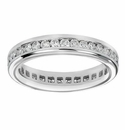 3 Carat Large Round Channel Set Cubic Zirconia Platinum Eternity Wedding Band