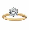 Round Cubic Zirconia Tiffany Style Solitaire Engagement Rings