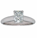 Emerald Cut Cubic Zirconia Tiffany Style Solitaire Engagement Rings