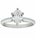 Oval Cubic Zirconia Tiffany Style Solitaire Engagement Rings