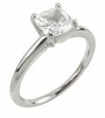 Cushion Cut Square Cubic Zirconia Tiffany Style Solitaire Engagement Rings