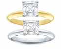 Asscher Cut Cubic Zirconia Tiffany Style Solitaire Engagement Rings