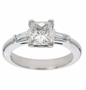 Princess Cut Cubic Zirconia Baguette Solitaire Engagement Rings