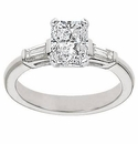 Emerald Cut Cubic Zirconia Baguette Solitaire Engagement Rings