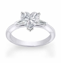 Heart Shape Cubic Zirconia Baguette Solitaire Engagement Rings