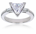 Trillion Triangle Cubic Zirconia Baguette Solitaire Engagement Rings