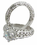 Elizabeth 2 Carat Round Cubic Zirconia Antique Scroll Bridal Set