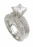 Pave Splendor Princess Cut Cubic Zirconia Wedding Set with Matching Band