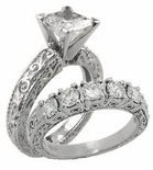 Art Deco 2 Engraved 1.5 Carat Cubic Zirconia Wedding Set