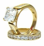 Julieta 2.5 Carat Princess Cut Cubic Zirconia Cathedral Wedding Set