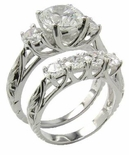 Estate Style 2 Carat Round Cubic Zirconia Art Deco Engraved Trellis Style Wedding Set