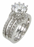 Renaissance 2 Carat Round Cubic Zirconia Pave Three Ring Bridal Wedding Set