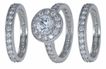 Bella Bezel Set Round Cubic Zirconia Halo Three Ring Pave Eternity Bridal Set