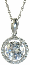 LaRue Diamond Quality Cubic Zirconia Halo Solitaire Pendants