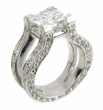 Omega Princess Cut Split Shank Pave Solitaire Ring