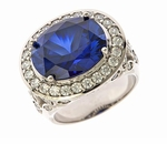 Zabel 9 Carat Man Made Sapphire Oval Gemstone Pave Set Halo Cubic Zirconia Ring