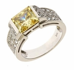 Harmon 2.5 Carat Princess Cut Semi Bezel Set Canary Cubic Zirconia Ring