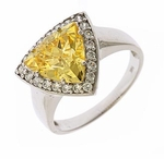 Avida 3.5 Carat Trillion Lab Created Canary Cubic Zirconia Pave Halo Solitaire Engagement Ring