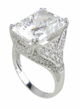 Viscoti 9 Carat Emerald Radiant Cut Cubic Zirconia Pave Solitaire Engagement Ring