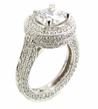 Manhattan 2 Carat Round Cubic Zirconia Pave Set Round Halo Solitaire Engagement Ring