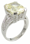 Montibella 7 Carat Cushion Emerald Cut Cubic Zirconia Pave Solitaire Engagement Ring