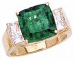Tsoler 5.5 Carat Cushion Cut Man Made Emerald Gemstone Three Stone Ring