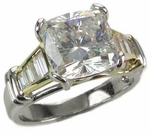 Cushion Cut Channel Baguette Solitaire