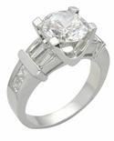 Gavra 2 Carat Round Cubic Zirconia Channel Set Princess and Baguette Solitaire Engagement Ring