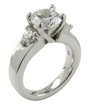 Dianna 2 Carat Round Cubic Zirconia Three Stone Engagement Ring