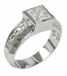 Bezelli 1 Carat Princess Cut Bezel Set Cubic Zirconia Pave Solitaire Engagement Ring