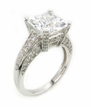 Princess Cut Square Cubic Zirconia Pave Encrusted Solitaire Engagement Ring