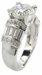 Jabeau 1.5 Carat Round Cubic Zirconia Channel Set Baguette Solitaire Engagement Ring