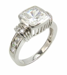 Cushing 2.5 Carat Bezel Set Cushion Cut Cubic Zirconia Solitaire Engagement Ring