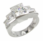 Gratigny 1.5 Carat Princess Cut Cubic Zirconia Channel Set Graduated Five Stone Ring
