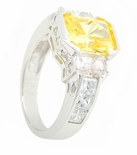 Luna 2.5 Carat Emerald Radiant Cut Canary Cubic Zirconia Three Stone Engagement Ring