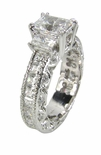 Heaven Three Stone Emerald Cut Eternity 1.5 Carat Cubic Zirconia Center Solitaire Engagement Ring