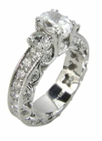 Three Stone Oval Eternity 1 Carat Cubic Zirconia Center Solitaire Engagement Ring
