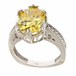 Templar 4 Carat Lab Created Canary Oval Cubic Zirconia Solitaire Engagement Ring
