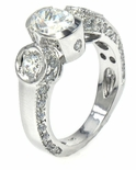 Valliant 1 Carat Oval Semi Bezel Set Cubic Zirconia Round Pave Solitaire Engagement Ring