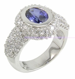 Kronos Oval 1 Carat Sapphire Pave Encrusted Cubic Zirconia Halo Solitaire Engagement Ring