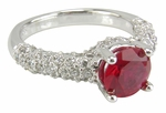 Correlli 1.25 Carat Lab Created Ruby Round Cubic Zirconia Cathedral Pave Encrusted Solitaire Engagement Ring