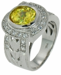 Botanique 3.5 Carat Bezel Set Canary Oval Cubic Zirconia Halo Solitaire Engagement Ring